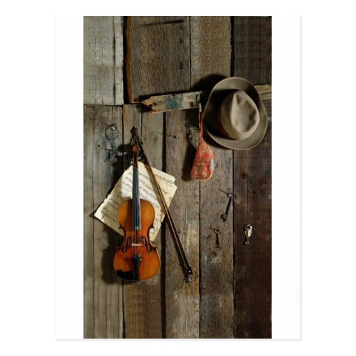 Fiddle & Hat on Barn Wall ~ Country Music Post Cards