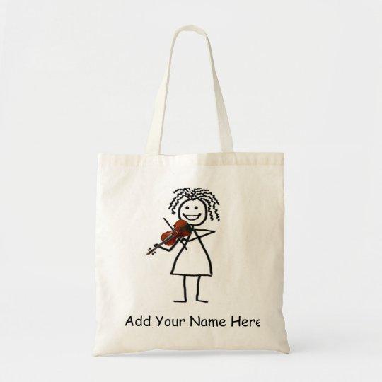 Fiddle Kid Stick Figure Tote Bag