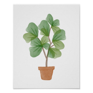Fiddle Leaf Fig Watercolor Poster