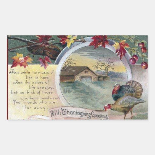 Fiddle, Turkeys and Barn Vintage Thanksgiving Sticker