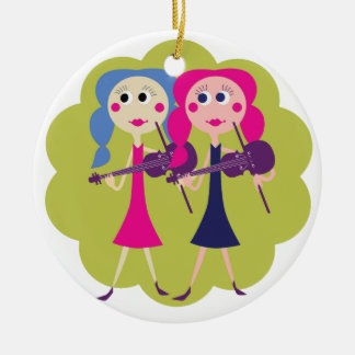 Fiddle Twins Christmas Ornament