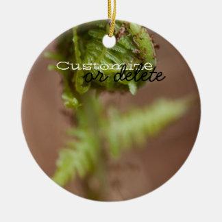 Fiddlehead Macro; Customizable Round Ceramic Decoration