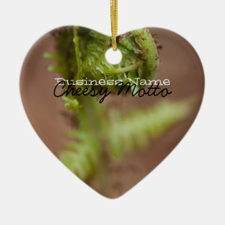 Fiddlehead Macro; Promotional Ceramic Heart Decoration