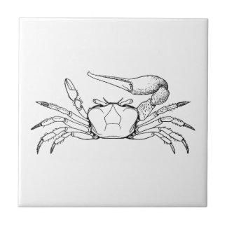 Fiddler Crab Illustration (line art) Small Square Tile