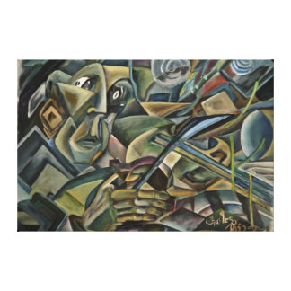 Fiddler, cubist oil painting stretched canvas print