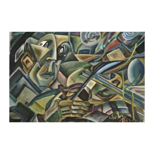 Fiddler, cubist oil painting canvas print