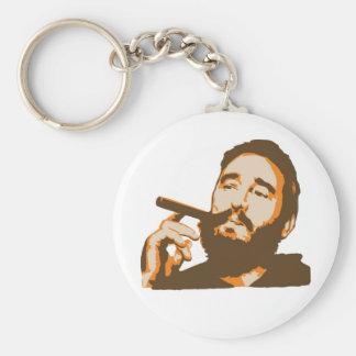 Fidel Castro with Cigar Portrait Keychain