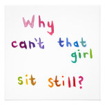 Fidgety girls can't sit still things to do fun art personalised invitation
