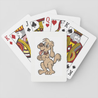 Fido the dog on a playing deck of cards