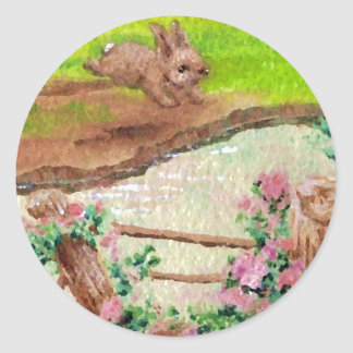 Field Bunny Country Flowers Bunny Rabbit Round Sticker