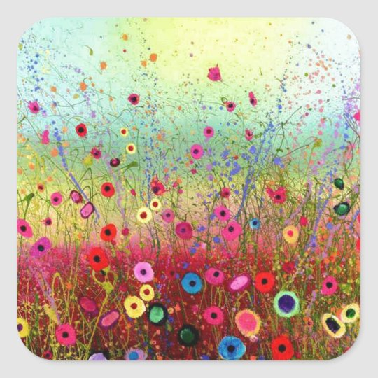 Field flowers square sticker