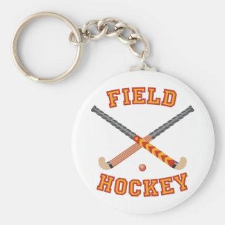 Field Hockey Basic Round Button Key Ring