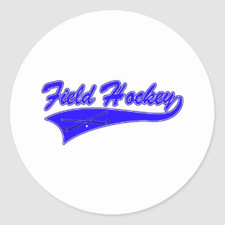 Field Hockey Blue Classic Round Sticker