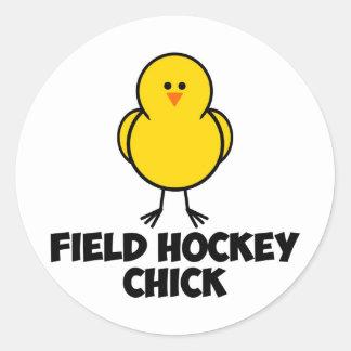 Field Hockey Chick Classic Round Sticker
