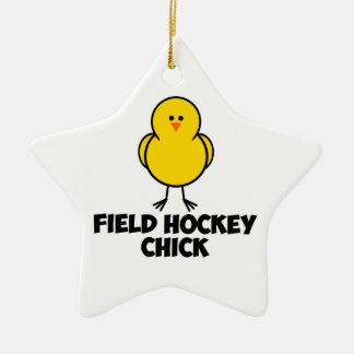 Field Hockey Chick Double-Sided Star Ceramic Christmas Ornament