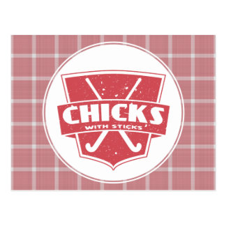 Field Hockey Chicks With Sticks Post Card