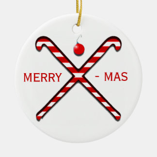 Field Hockey Christmas Round Ceramic Decoration