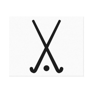 Field hockey clubs ball stretched canvas print