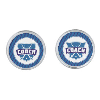 Field Hockey Coach Cufflinks Silver Finish Cufflinks