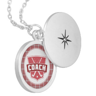 Field Hockey Coach Red Shield Penant Silver Plated Necklace