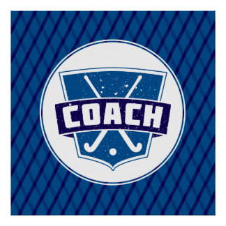 Field Hockey Coach Shield Poster Print
