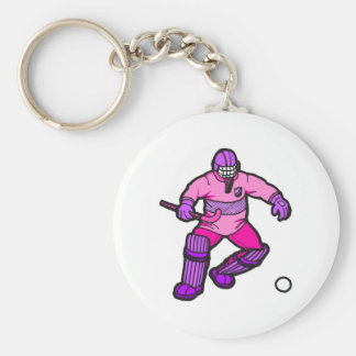 Field Hockey goalie Basic Round Button Key Ring
