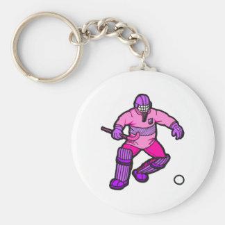 Field Hockey goalie Basic Round Button Key Ring