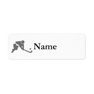 Field Hockey gray silhouette Return Address Label
