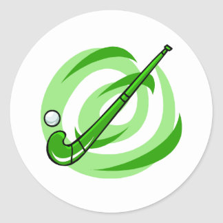 Field Hockey green logo Classic Round Sticker