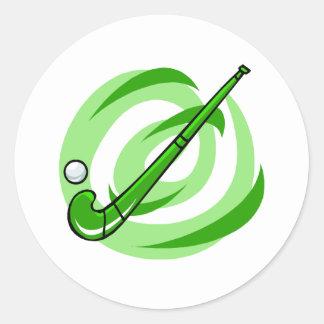 Field Hockey green logo Round Sticker