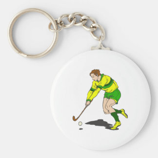 Field Hockey Guy Basic Round Button Key Ring