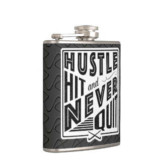 Field Hockey Hustle, Hit & Never Quit Hip Flask