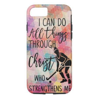 Field Hockey I Can Do All Things Through Christ iPhone 8/7 Case