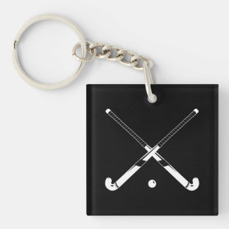 Field Hockey Keychain w/Name Black