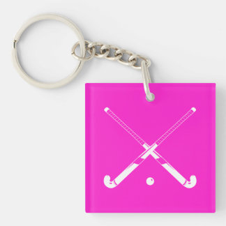 Field Hockey Keychain w/Name Pink