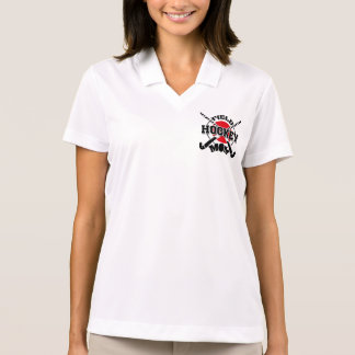 Field Hockey Mom Crossed Hockey Sticks Hockey Ball Polo Shirt