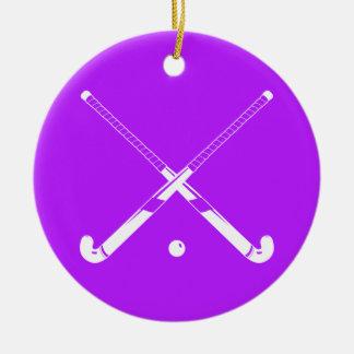 Field Hockey Ornament w/Name Purple