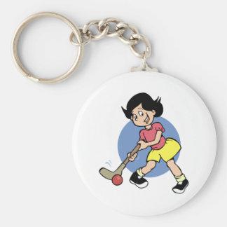 Field Hockey Player Basic Round Button Key Ring