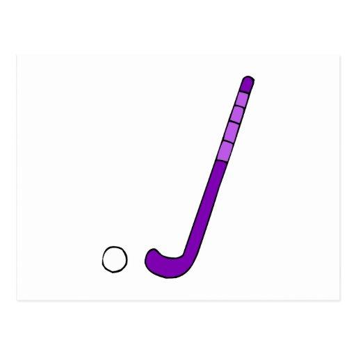 Field Hockey purple stick Postcard