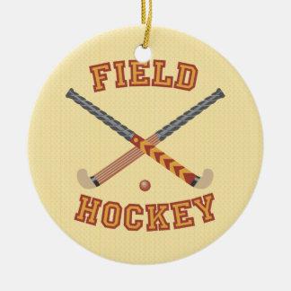 Field Hockey Round Ceramic Decoration