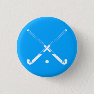 Field Hockey Silhouette Button Blue