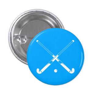 Field Hockey Silhouette Button Blue