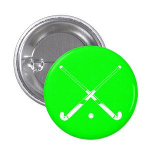 Field Hockey Silhouette Button Green