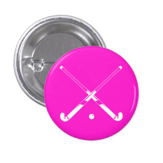 Field Hockey Silhouette Button Pink