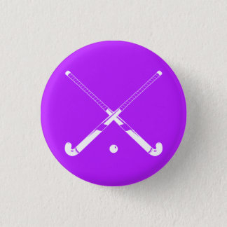 Field Hockey Silhouette Button Purple
