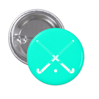 Field Hockey Silhouette Button Turquoise