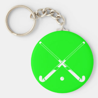 Field Hockey Silhouette Keychain Green