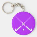 Field Hockey Silhouette Keychain Purple