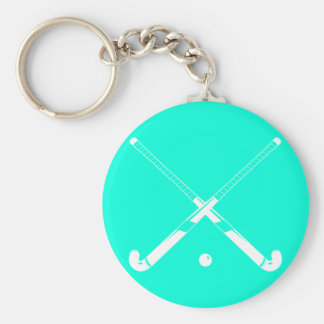 Field Hockey Silhouette Keychain Turquoise