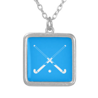 Field Hockey Silhouette Necklace Blue